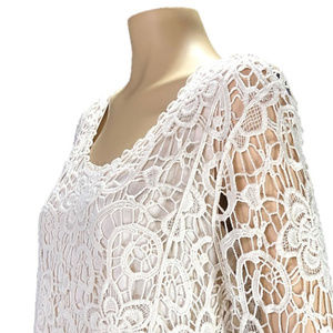 Christopher Banks Cream Tank w/ Open Lace Overlay
